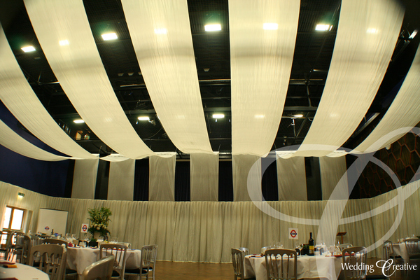 School Hall Drapes Wedding