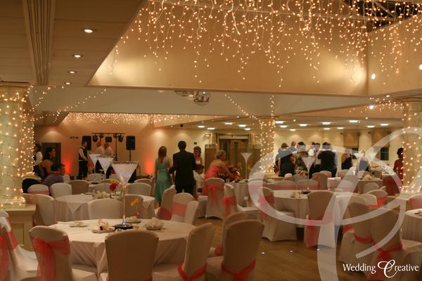 Venue dressing at orsett hall wedding creative wedding fairy light canopy hire junglespirit Gallery