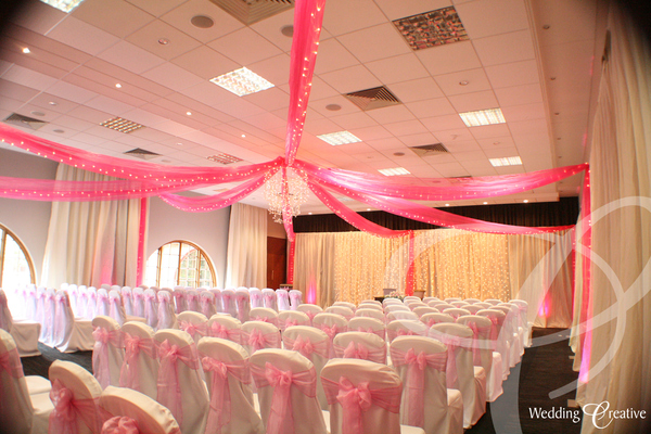 Pink Fairy Light Wedding Ceiling Drapes