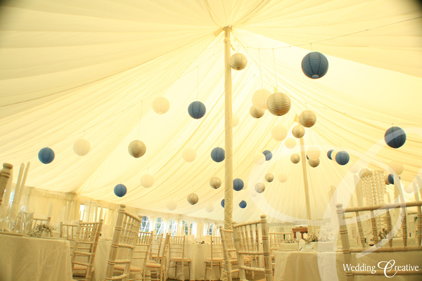 Blue and Silver Paper Lanterns