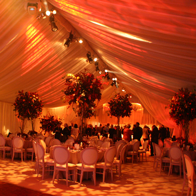 atmospheric wedding lighting design